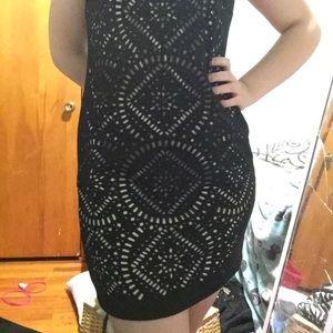 Black cut out short dress